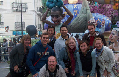 A float at Las Fallas with the Cantebury group